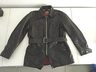 Mens Vintage Brown Leather Highwayman Motorcycle Jacket Approx Size 38 40 Bikers
