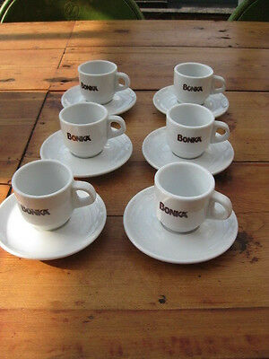 Great Vintage French Deco Set Of 6 Coffee Expresso Cups & Saucers Urban Retro