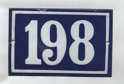Vintage FRENCH Enamel 198 House Enamel Sign Number Plate Door Street Plaque Blue