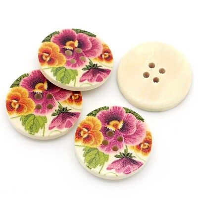 """10 Wooden Buttons Multi Pansy Flower design 30mm (1 1/8"""") Sewing Scrapbook craft"""