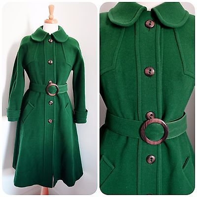 green pure wool COAT winter 1970's does 1930's 40's PRINCESS retro VINTAGE 8 10