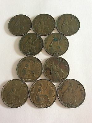 10 Old English Pennies All Different Dates.