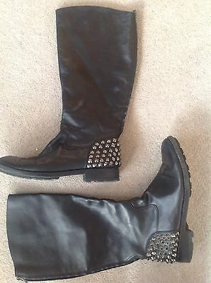 Womens Black Studded Boots In UK Size 5 (38)