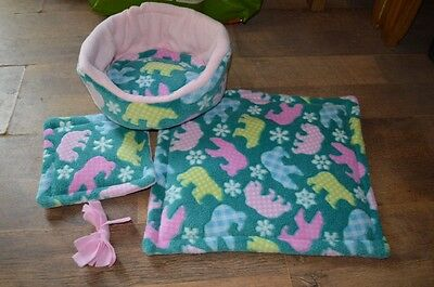 Cuddle cup, 2 lap pads &  toy for Guinea pigs, small baby rabbits, ferrets.