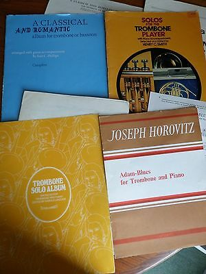 JOB LOT of FOUR - TROMBONE Music Books with PIANO Parts.
