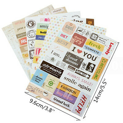 6x Retro DIY Calendar Paper Stickers for Scrapbooking Diary Planner Sticky SD