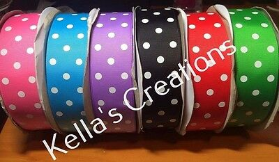 "Grosgrain Ribbon with dots 1.5"" - 38mm wide Sold by 2 Yards- Craft - Hair Bows"