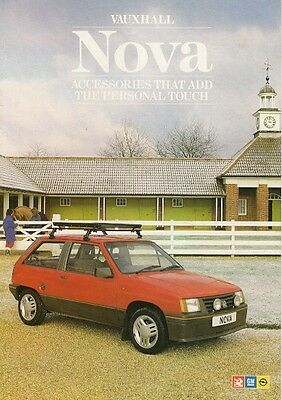 Vauxhall Nova Accessories 1987 UK Market Foldout Sales Brochure