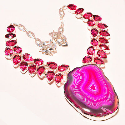 Slice Agate Druzy, Pink Rubylite Tourmaline .925 Sterling Silver Necklace 18""
