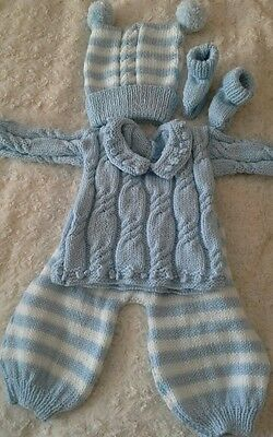 hand knitted baby outfit to fit18-22 inch reborn doll or new baby up to 12lb