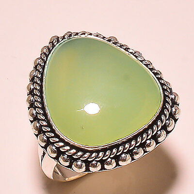 Ravishing Green Chalcedony Gemstone .925 Sterling Silver Ring 7.3""