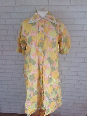 Vintage 1960's Yellow and Orange Nylon Padded Dressing Gown House Coat Size M