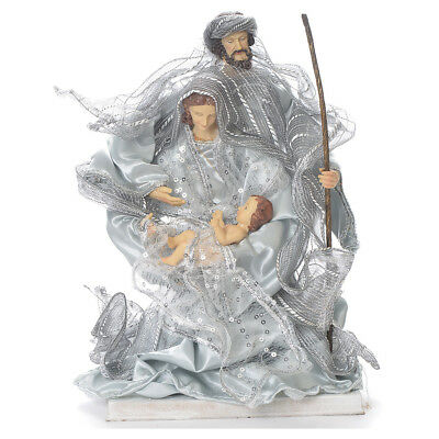 Nativity scene in resin and fabric, 20cm silver