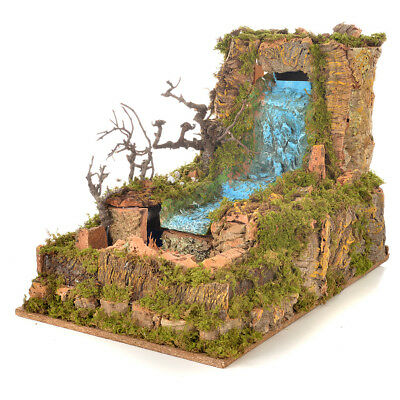 Nativity setting, waterfall with stream and pump 60x34cm