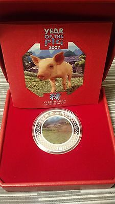 2007 Australia $1 Year of the Pig Lenticular Silver Colored Coin w/ Case & Box!