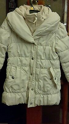 Cosy M&s Girls Cream Padded Fleece-Lined Hooded Jacket Age 5-6 Years