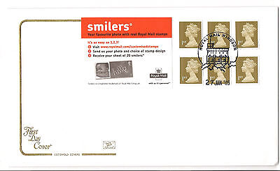 QEII 2005 Smiler Booklet FDC First day cover 27/Jan/2005 6 x 1st gold