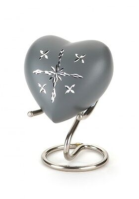 Lewes Grey Heart Keepsake Ashes Urn - Keepsake