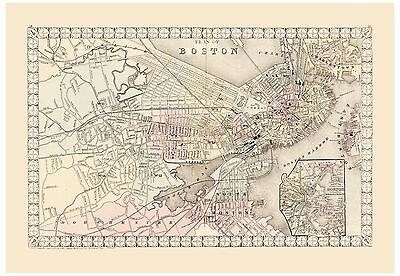 Old Vintage Map of Boston Mitchell 1874