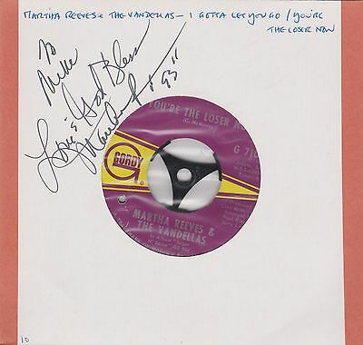 Signed Martha Reeves & The Vandellas Record --  7 INCH 45 RPM - MOTOWN RECORD