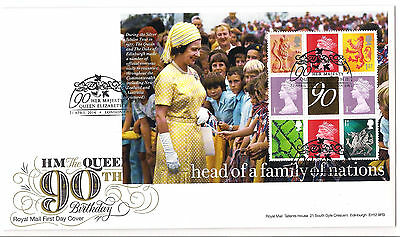 QEII 90th Birthday PSB gold Booklet pane FDC First day cover 21 April 2016