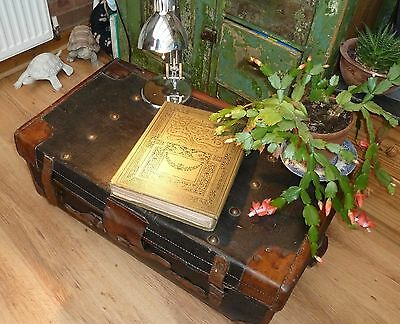 Vintage Travel Trunk_ Leather & Rexine_Retro Coffee Table / Prop / Display