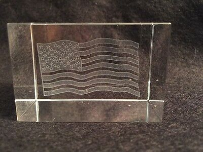Clear Glass Paperweight Embedded Etched American Flag