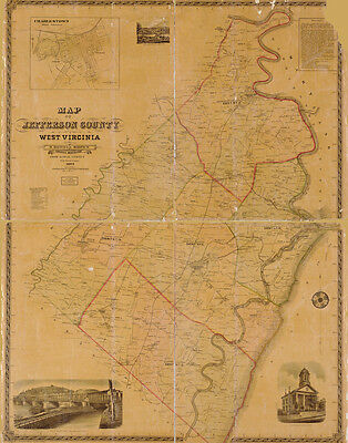 1883 Farm Line Map of Jefferson County West Virginia Harpers Ferry Charlestown