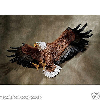 "31"" Flying Freedom's American Spirit Hand Painted BALD Eagle Wall Sculpture"