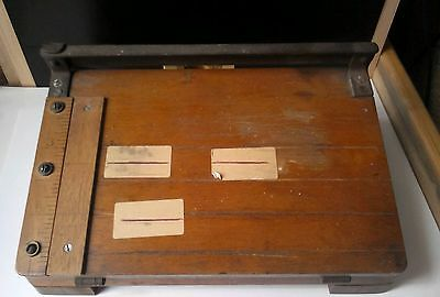 Vintage Wooden Guillotine / Paper Cutter By Merretts. Good Working Order