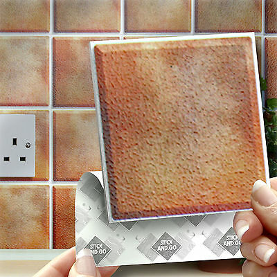 18 Stick & Go Terracotta Wall Tiles, Stickers for Kitchen & Bathrooms