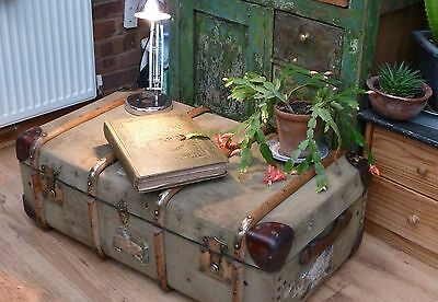 Vintage Travel Trunk_ Steamer Chest_Retro Coffee Table / Prop / Display