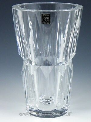 "SAINT ST. LOUIS France Clear Crystal Contemporary 8"" FLOWER VASE CAMARET"