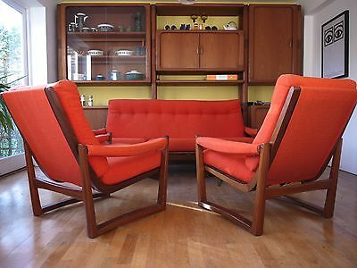 Guy Rogers Virginia 3 seater sofa + 2 arm chairs suite. Vintage retro