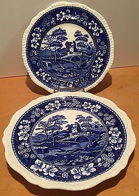 Vintage Copeland Spode's Tower Blue/White Plates x 2 10.5""