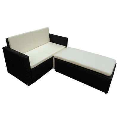 Outdoor Rattan Lounge Set Garden Furniture 1 Sofa Bed Footrest 3 Cushions Black