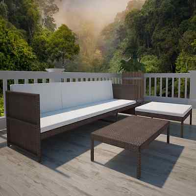 Outdoor Lounger Set 3 Seater Rattan 3 Seat Sofa Coffee Table with Cushions Brown