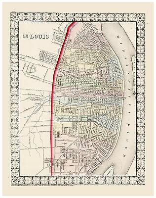 Old Vintage Map of St. Louis Mitchell 1874