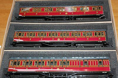 DARSTAED 35cm LMS SUBURBAN 3 COACH SET 3 RAIL 1905 WITH REAR LIGHT O GAUGE