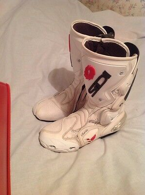 Ladies Sidi White Motorbike Racing Boots,size 5, Great Condition,RRP £150