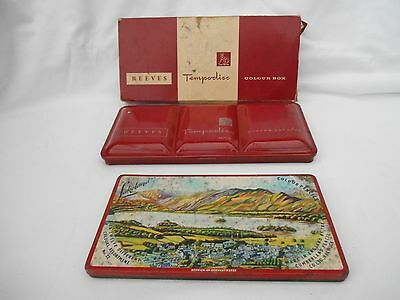 Vintage boxed Reeves paint box and Lakeland pencil tin from the 1960's