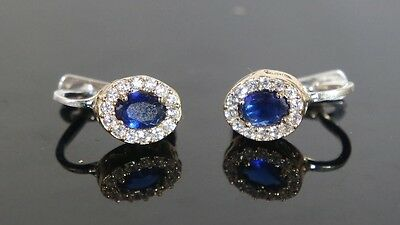 Classic! Turkish Handmade Sapphire Earring Sterling Silver 925K And Bronze