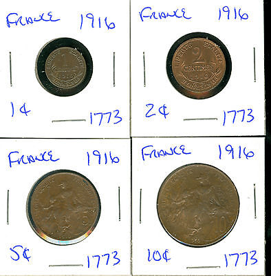France- 1916 - 1-2-5-10 Centimes - 4 Coins
