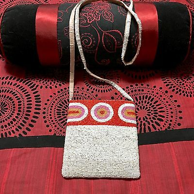 Vintage Beaded Purse Leather Shoulder Crossbody Pouch Bag Red White Gold Lined
