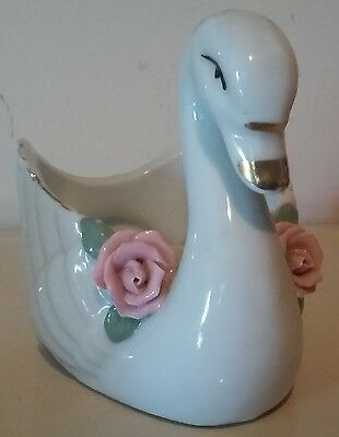 Vintage Porcelain Made in China Swan Planter/Soap Dish/Candy Dish