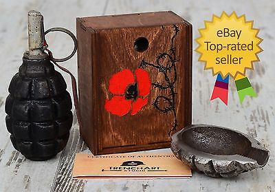 """Remembrance Red Poppy"" SOUVENIR - WW1 Relic / TRENCH ART - F1 hand grenade"