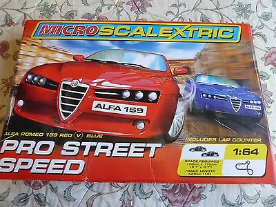 MICRO SCALEXTRIC PRO STREET SPEED 1:64, Lap Counter, Alpha Romeo Red & Blue