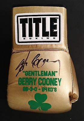 Gerry Cooney Hand Signed, Custom Screen Printed, Gold Title Boxing Glove-Jsa Coa