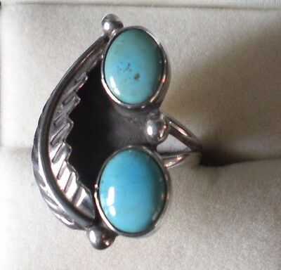 Navajo Silver, Feather & Turquoise Ring