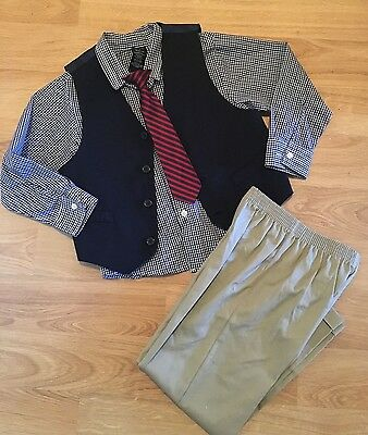 Boys Holiday Christmas outfit size 7 vest tie slacks shirt pants set navy red